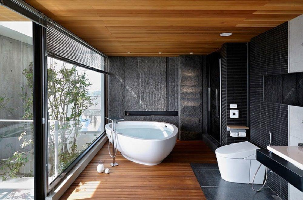 Badkamer zwart en hout ilikeinteriors