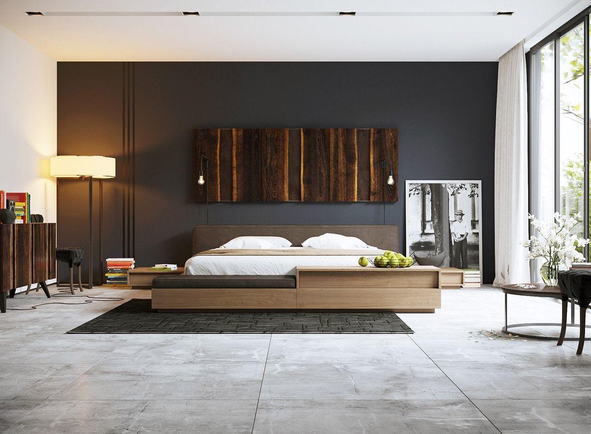 Slaapkamer met donkere wand.