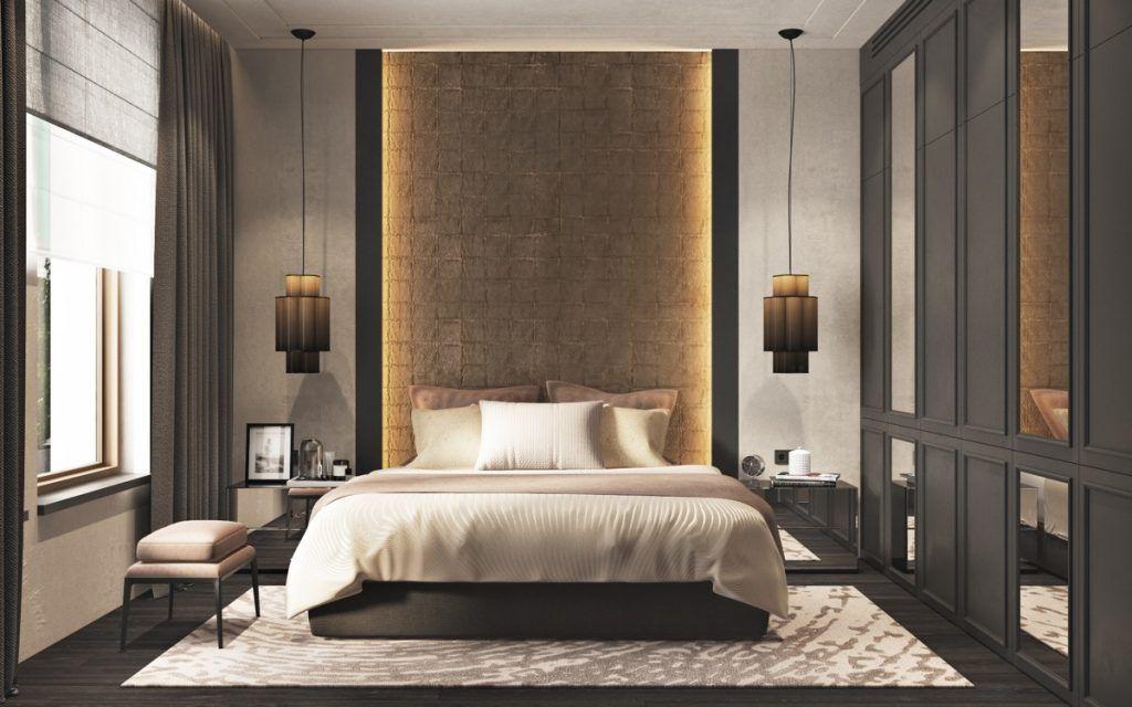 Slaapkamer met licht in de achterwand