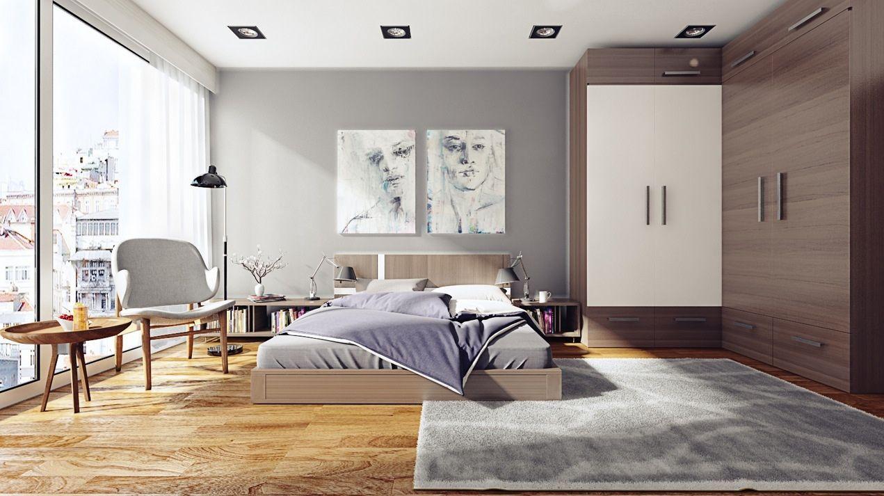Slaapkamer met grijs vloerkleed